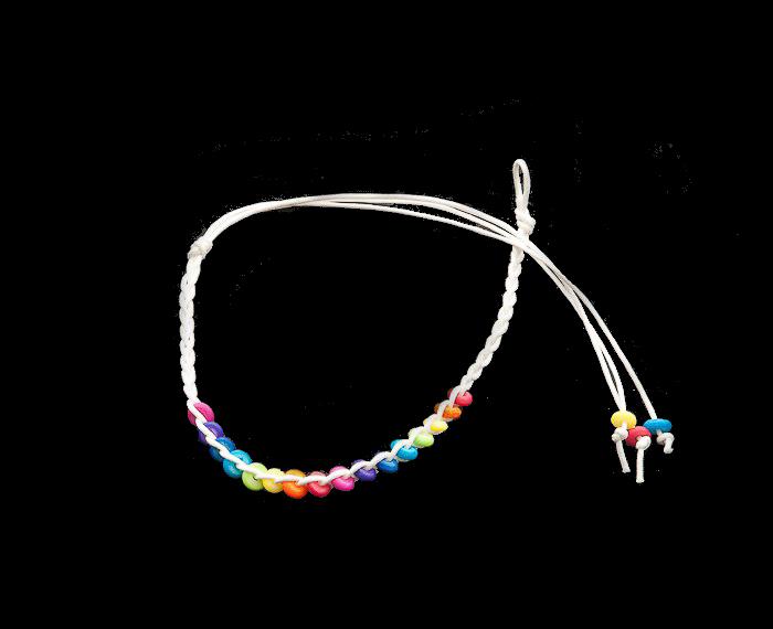 Bracelet bresilien amitie fil cire tresse avec perles porte bonheur blanc 8292 - Longueur fil bracelet bresilien ...