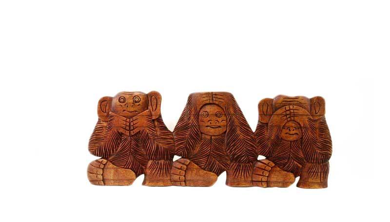 3 singes de la sagesse plaque murale bois indonesie b4. Black Bedroom Furniture Sets. Home Design Ideas
