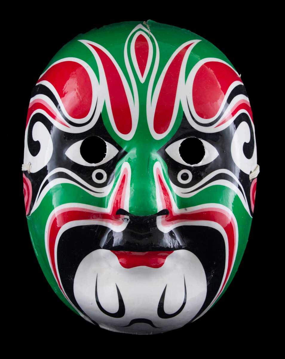 Masque d/' Opéra Chinois en  papier mâché marron  plâtre fait main 22454