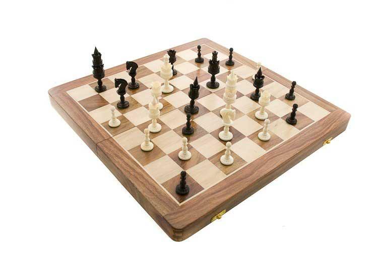 Echiquier jeu d 39 echecs bois et corne 46 x46 cm fait main inde echiquier artisanal jeu d - Echiquier en bois fait main ...