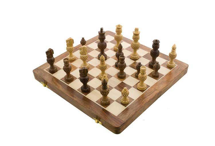 Echiquier jeu d 39 echecs bois 35x35cm fait main inde - Echiquier en bois fait main ...