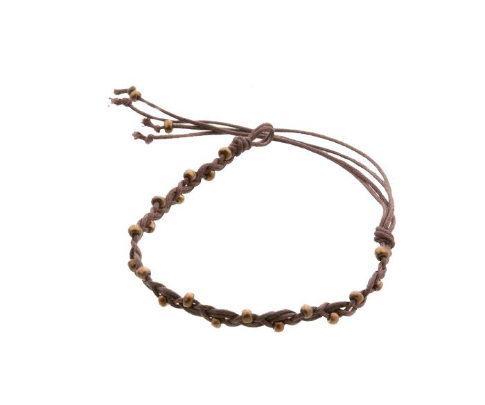 Bracelet bresilien amitie fil tresse avec perles porte bonheur marron t 8118 - Longueur fil bracelet bresilien ...