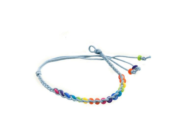 Bracelet bresilien amitie fil tresse avec perles porte bonheur bleu 8109 - Longueur fil bracelet bresilien ...