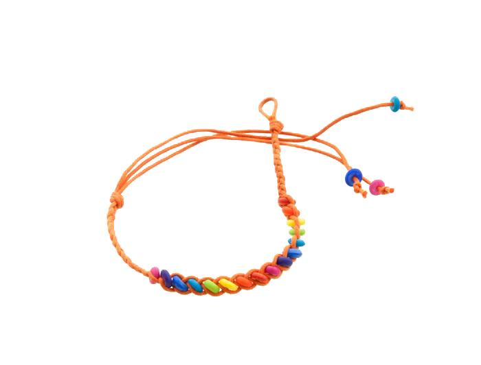 Bracelet bresilien amitie fil tresse avec perles porte bonheur orange 8108 - Longueur fil bracelet bresilien ...