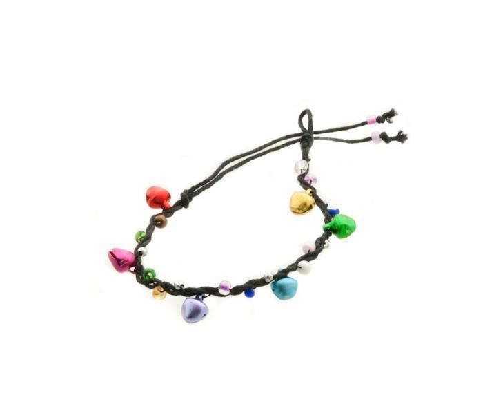 Bracelet bresilien amitie fil tresse avec clochettes porte bonheur noir 8127 - Longueur fil bracelet bresilien ...