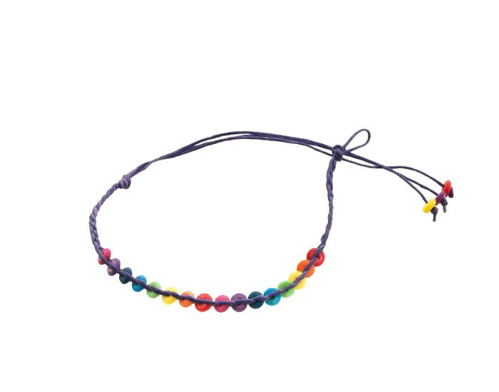 Bracelet bresilien amitie fil cire tresse avec perles porte bonheur violet 811 - Longueur fil bracelet bresilien ...