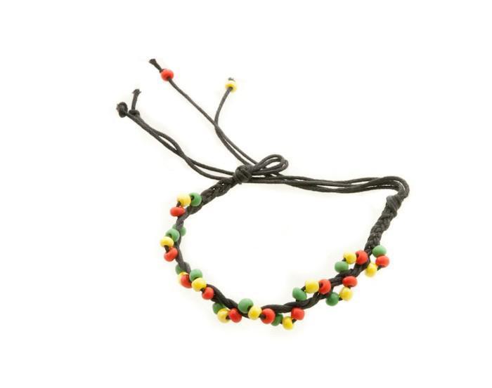 Bracelet bresilien amitie fil de coton tresse porte bonheur noir 8177 F4
