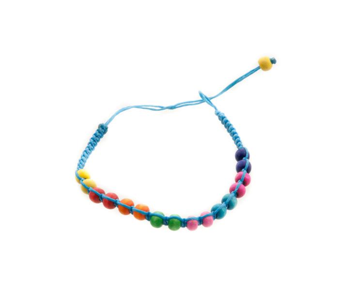 Bracelet bresilien amitie fil tresse avec perles bois porte bonheur bleu 8129 - Longueur fil bracelet bresilien ...