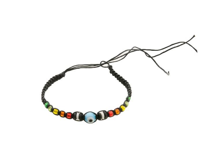 Bracelet bresilien amitie fil tresse avec perles porte bonheur noir 8132 - Longueur fil bracelet bresilien ...