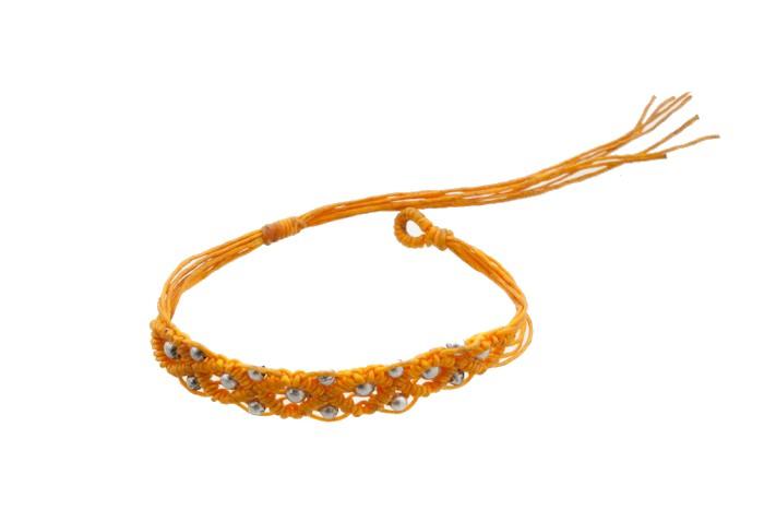 Bracelet bresilien amitie fil tresse avec perles porte bonheur orange 8133 - Longueur fil bracelet bresilien ...