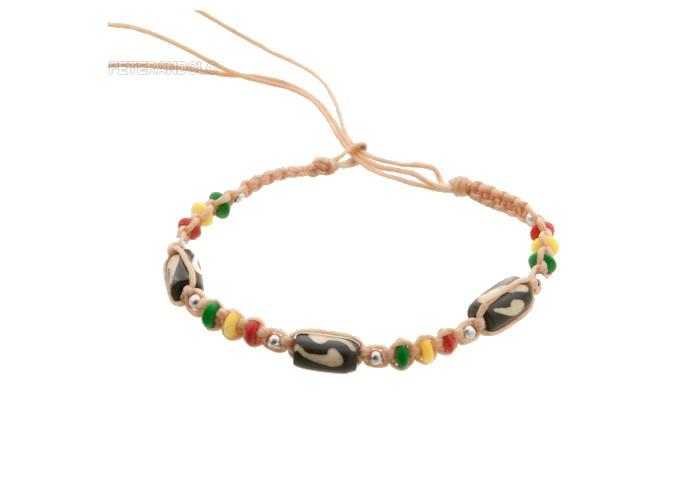 Bracelet bresilien amitie fil tresse avec perles porte bonheur beige rasta 8138 - Longueur fil bracelet bresilien ...