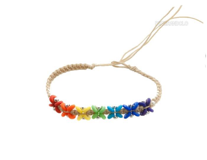 Bracelet bresilien amitie fil tresse avec perles porte bonheur beige 8141 - Longueur fil bracelet bresilien ...