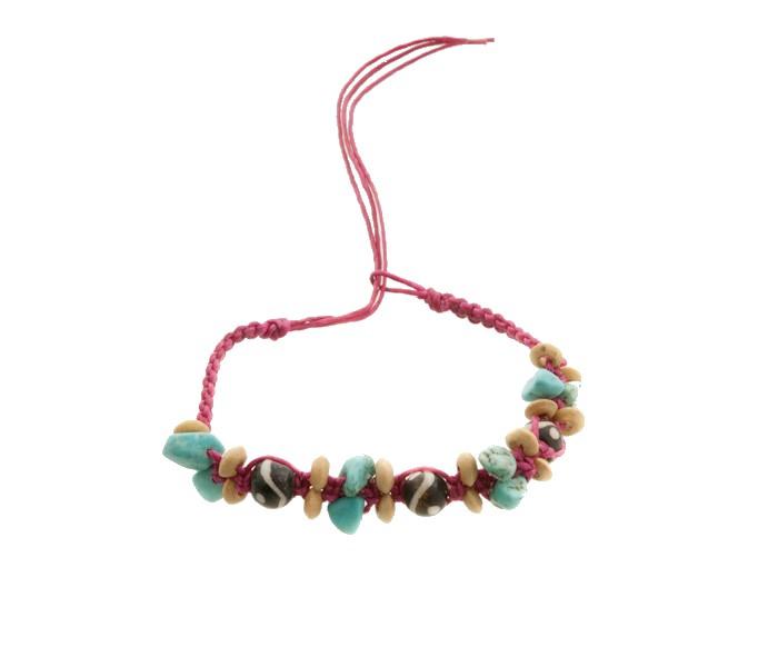 Bracelet bresilien amitie fil tresse avec perles porte bonheur turquoise 8144 - Longueur fil bracelet bresilien ...