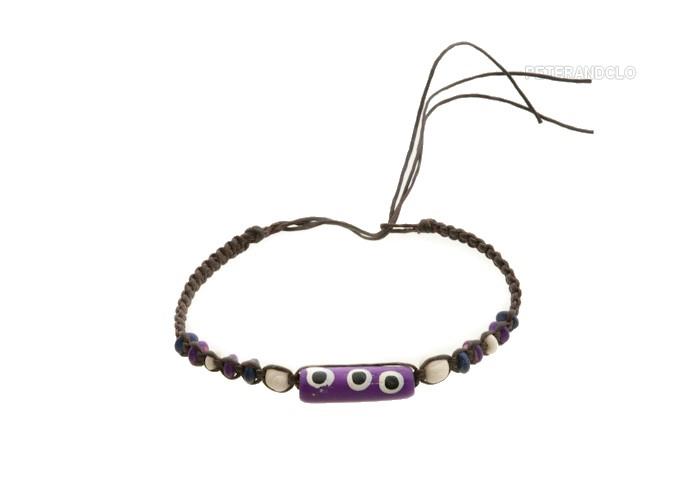 Bracelet bresilien amitie fil tresse avec perles porte bonheur violet 8150 - Longueur fil bracelet bresilien ...