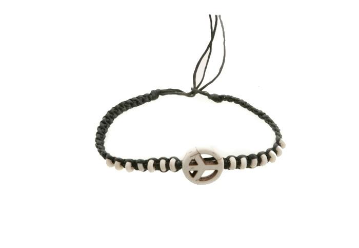 Bracelet bresilien amitie fil tresse avec perles porte bonheur peace love 8149 - Longueur fil bracelet bresilien ...
