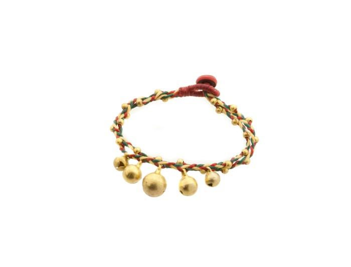 Bracelet bresilien amitie fil tresse perles porte bonheur clochette grelot 8163 - Longueur fil bracelet bresilien ...