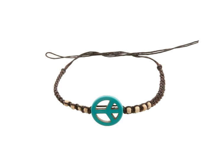 Bracelet bresilien amitie fil coton cire tresse peace love turquoise 8200 - Longueur fil bracelet bresilien ...
