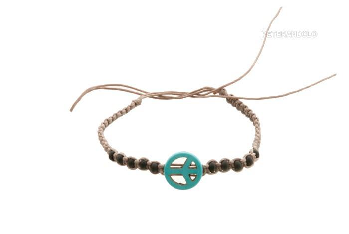 Bracelet bresilien amitie fil coton cire tresse peace love turquoise 8202 - Longueur fil bracelet bresilien ...