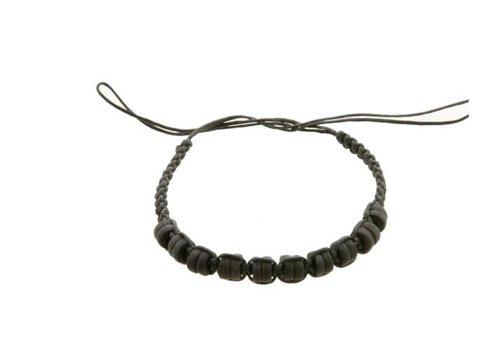 Bracelet bresilien amitie fil coton cire perles tresse porte bonheur noir 8196 - Longueur fil bracelet bresilien ...