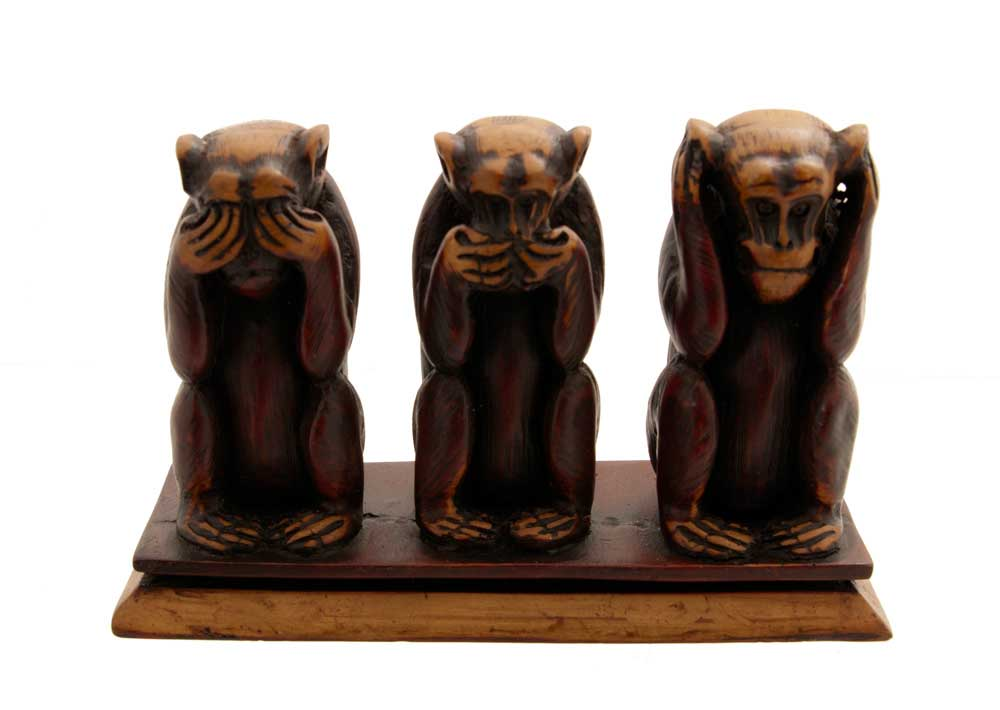 3 singes de la sagesse en resine 1 kg artisanat fait main. Black Bedroom Furniture Sets. Home Design Ideas