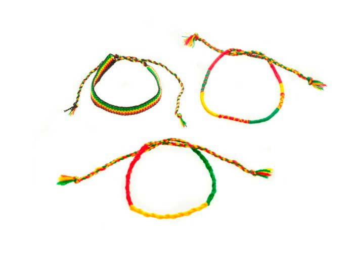 Lot de 3 bracelet bresilien amitie fil coton nylon tresse jamaique rasta 8219 - Longueur fil bracelet bresilien ...