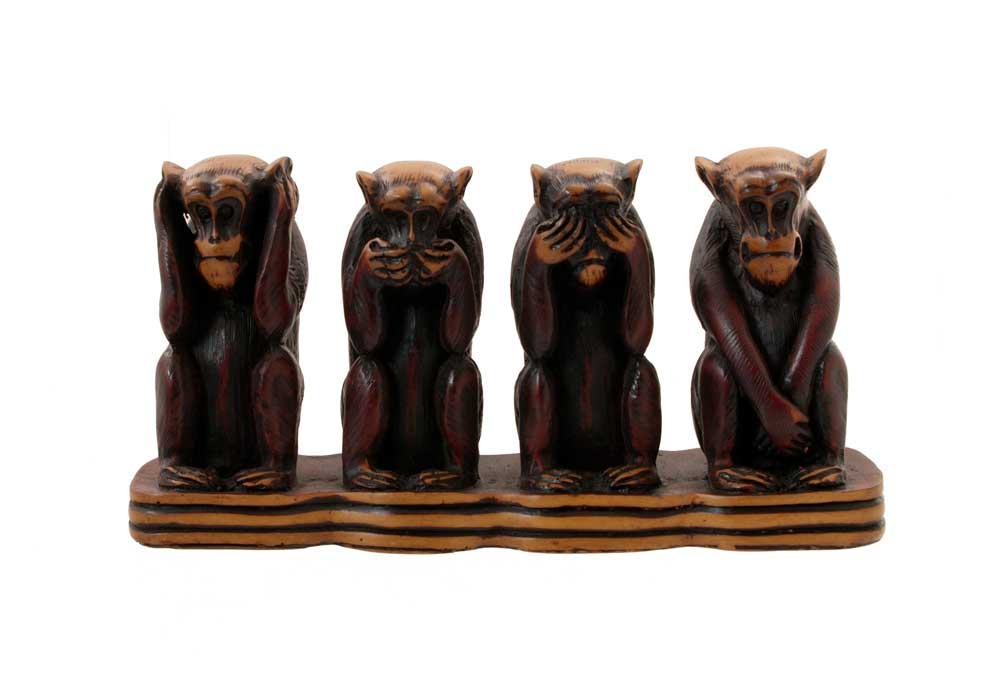 4 singes de la sagesse en resine 1kg4 artisanat du monde. Black Bedroom Furniture Sets. Home Design Ideas