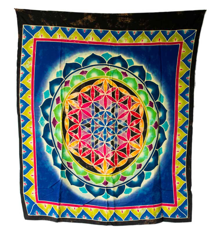 Batik chakra sri yantra tenture murale mandala yoga decor for Decoration murale mandala