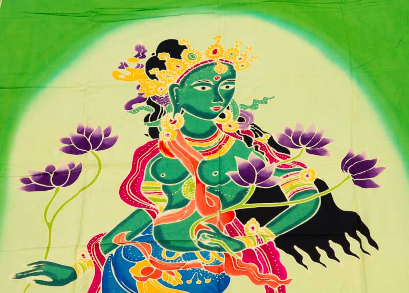 batik tara deit bouddhiste tenture murale yoga bouddha 166x113cm. Black Bedroom Furniture Sets. Home Design Ideas
