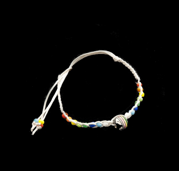 Bracelet bresilien amitie fil tresse perles porte bonheur blanc 8302 - Longueur fil bracelet bresilien ...