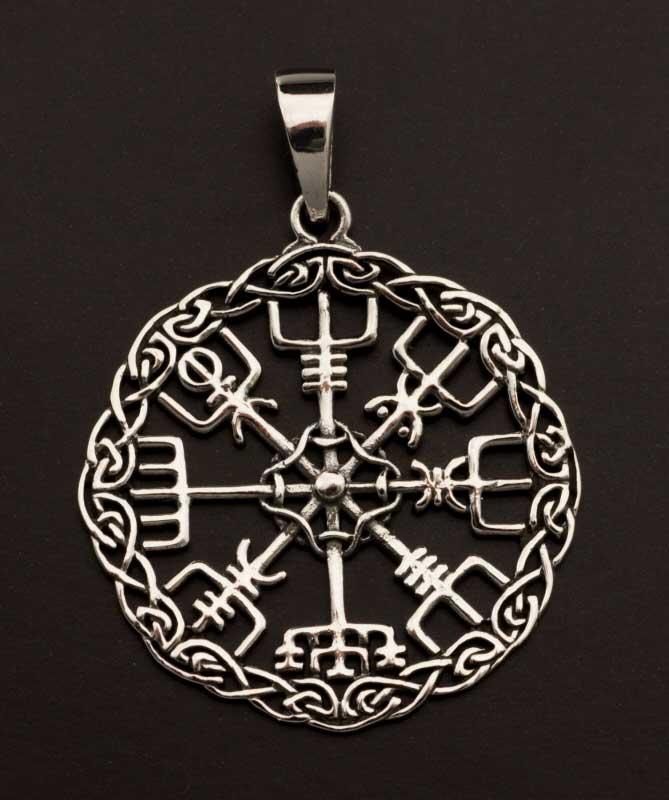 boussole pendentif islandais rune vegvisir nordique viking argent. Black Bedroom Furniture Sets. Home Design Ideas