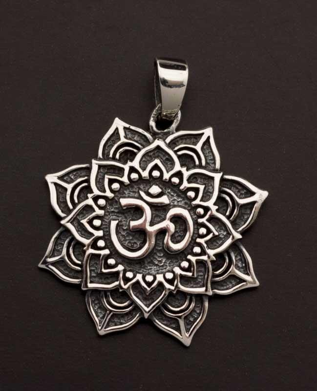 Pendentif tibetain Fleur Lotus Om Argent massif 925 7g Bijoux Tibet 25852 K49