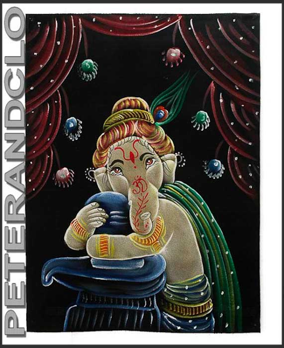 batik tenture murale sur tissu peint ganesh elephant 70x52cm fait main 12. Black Bedroom Furniture Sets. Home Design Ideas