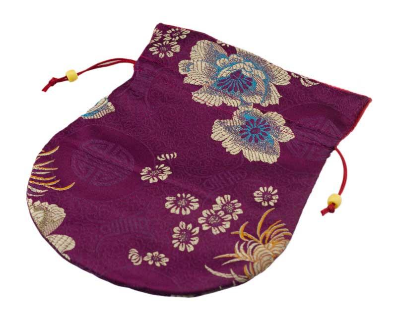 Bourse tissu brocart rouge pour bijoux