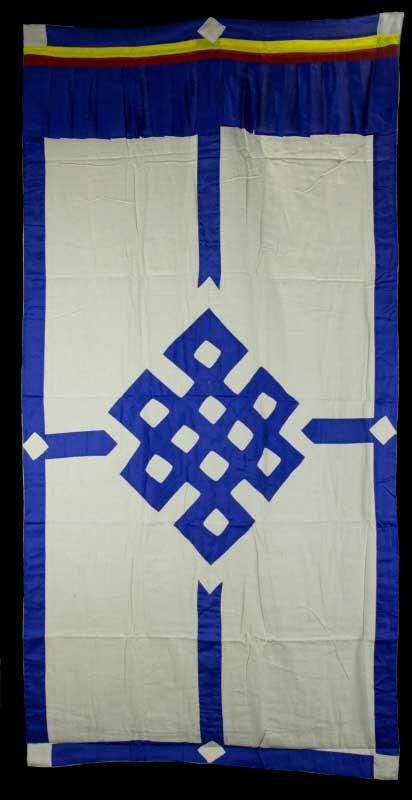 tenture de porte tibetaine blanc ecru noeud sans fin bleu 180x90cm tibet 490 b11. Black Bedroom Furniture Sets. Home Design Ideas
