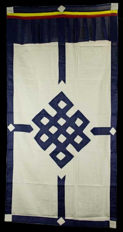 tenture de porte tibetaine blanc ecru noeud sans fin bleu marine 180x90cm 268. Black Bedroom Furniture Sets. Home Design Ideas