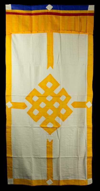 tenture de porte tibetaine rideau de porte tib tain noeud infini jaune. Black Bedroom Furniture Sets. Home Design Ideas