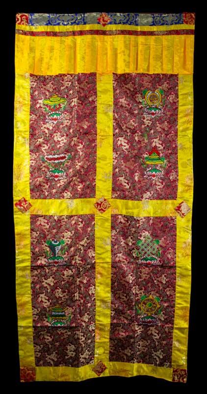 tenture de porte tibetaine brocart bordeaux broderie bouddhiste 188x90cm. Black Bedroom Furniture Sets. Home Design Ideas