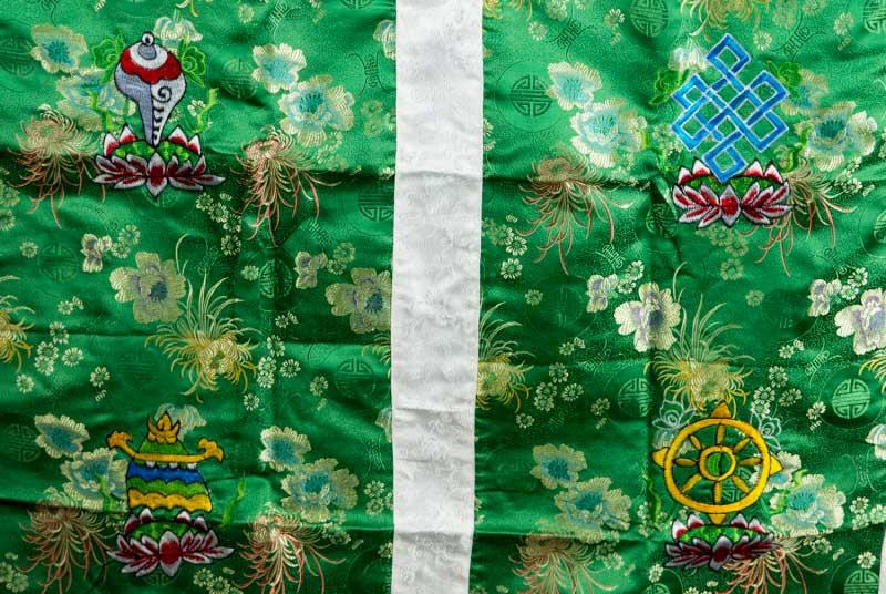 tenture de porte tibetaine tissu brocart vert broderie bouddhiste 188x90cm 25711. Black Bedroom Furniture Sets. Home Design Ideas