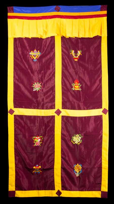 tenture de porte tibetaine bordeaux broderie symboles auspicieux 179x95cm 5071. Black Bedroom Furniture Sets. Home Design Ideas