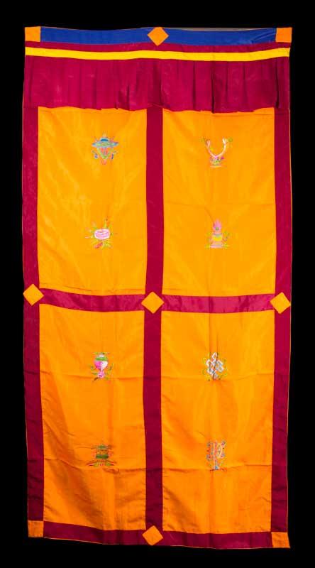 tenture de porte tibetaine orange broderie symboles auspicieux 179x95cm 5070 c4. Black Bedroom Furniture Sets. Home Design Ideas