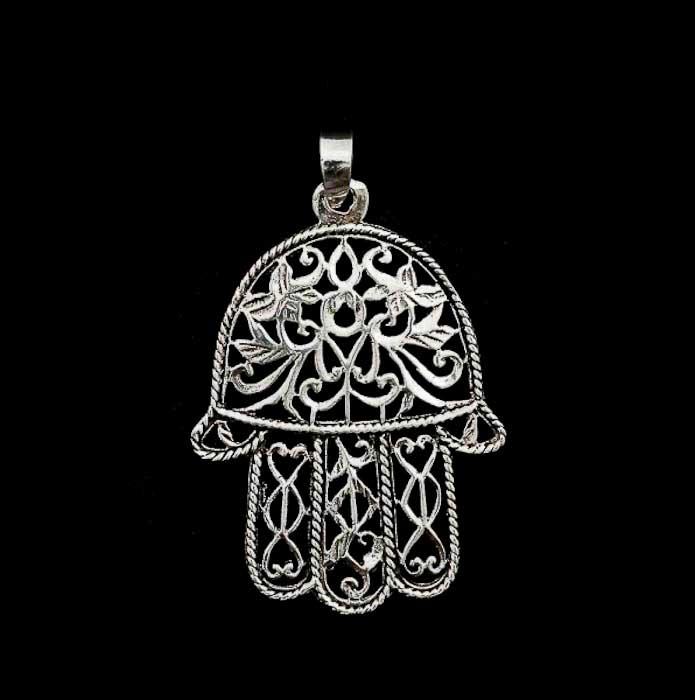 Pendentif main de fatma porte bonheur bijoux d 39 egypte ancienne artisanat gyptien - Porte bonheur argent richesse ...