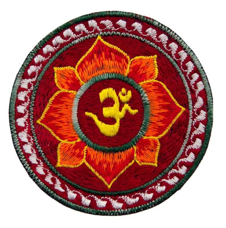 ecusson brod fleur lotus om orange bouddhiste fait main tibet nepal 1837 e3