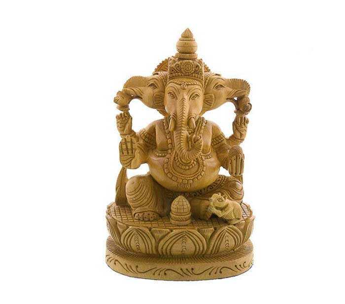 statue de ganesh elephant en bois porte bonheur peterandclo 7501. Black Bedroom Furniture Sets. Home Design Ideas