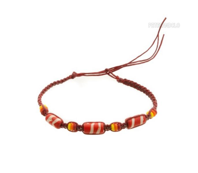 Bracelet bresilien amitie fil tresse avec perles porte bonheur rouge 8154 - Longueur fil bracelet bresilien ...