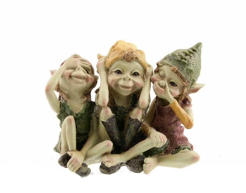 3 elfes pixies style singes de la sagesse 3 singes trois. Black Bedroom Furniture Sets. Home Design Ideas