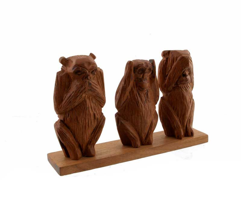 3 singes de la Sagesse en resine statue Artisanat de qualité H6cm beige  Z3 6989