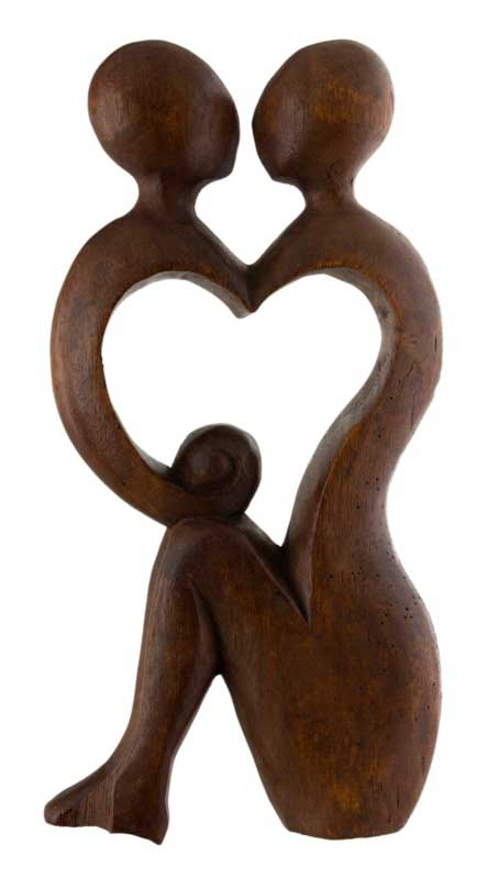 Statue Abstraite Couple Amoureux Bois 30 Cm Coeur Baiser
