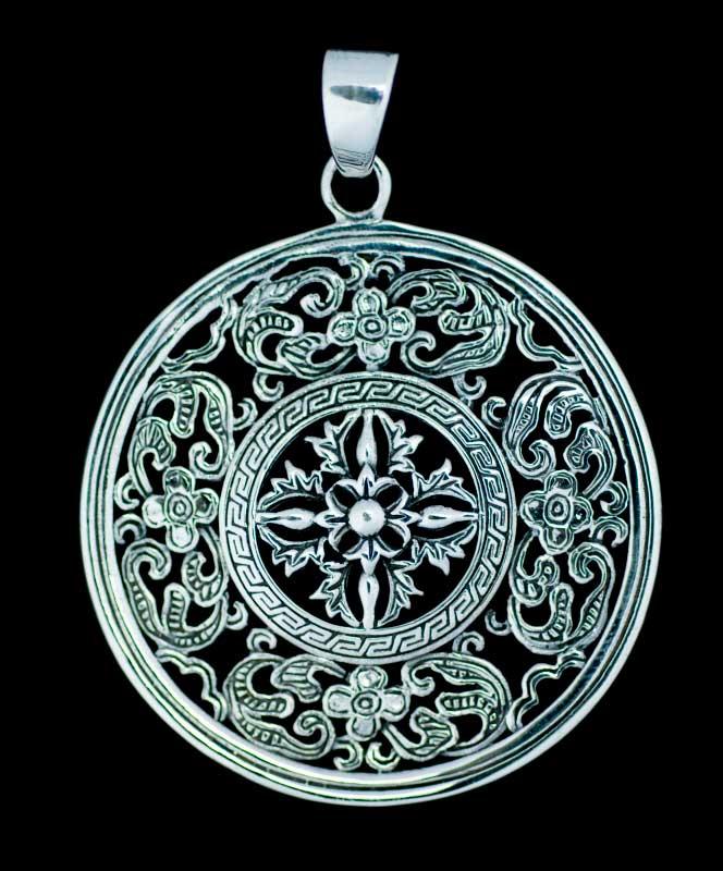 La Truite Brune Collier Pendentif Chaîne Verre Tibet bijoux argent
