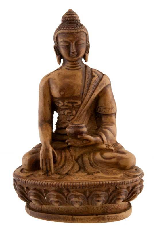 statue tibetaine bouddha shakyamouni resine beige