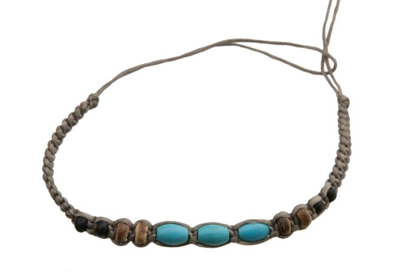 Bracelet tibetain amitie fil coton tresse porte bonheur turquoise tibet 8225 - Longueur fil bracelet bresilien ...